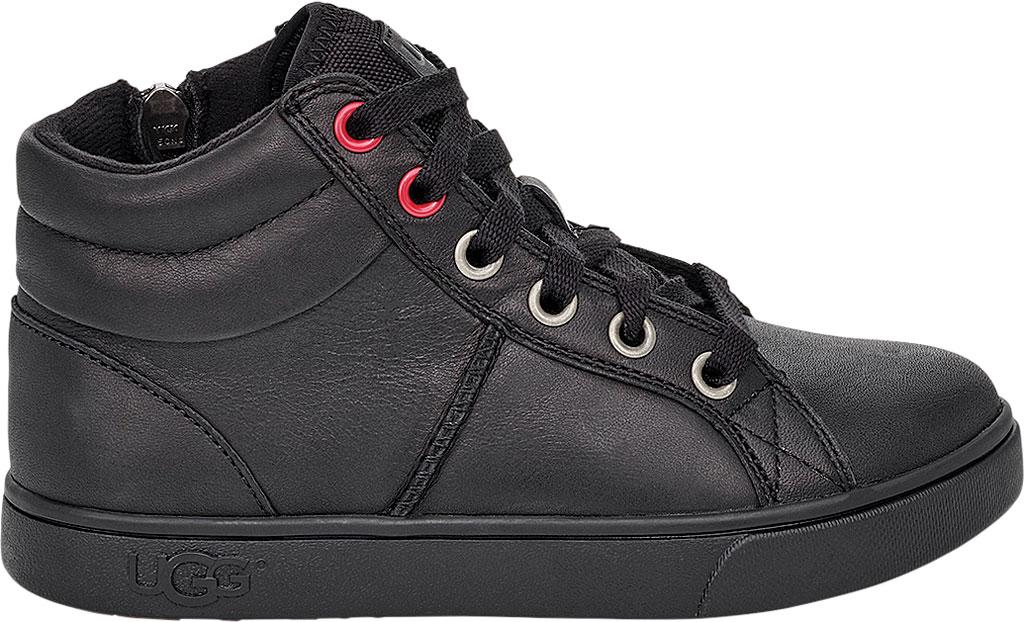 Children's UGG Boscoe High Top Sneaker, Black Leather, large, image 2