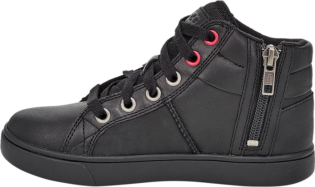 Children's UGG Boscoe High Top Sneaker, Black Leather, large, image 3