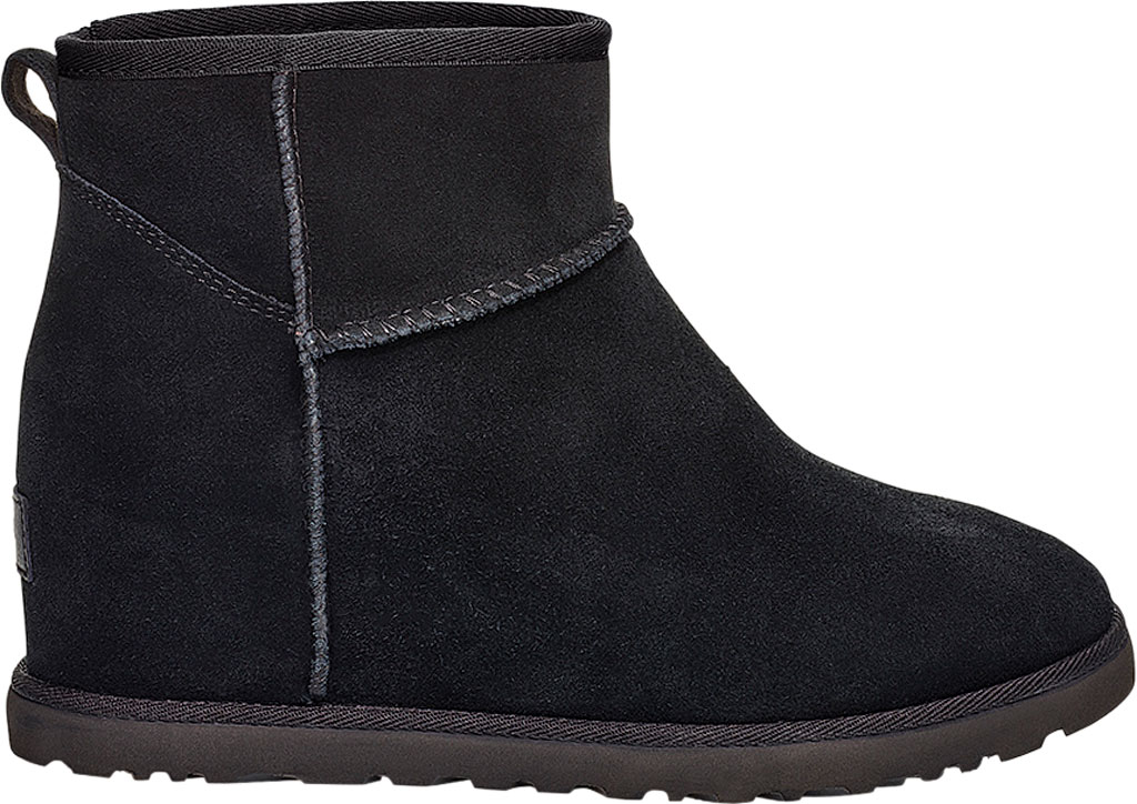 Women's UGG Classic Femme Mini Wedge Ankle Boot, Black Soft Suede, large, image 1