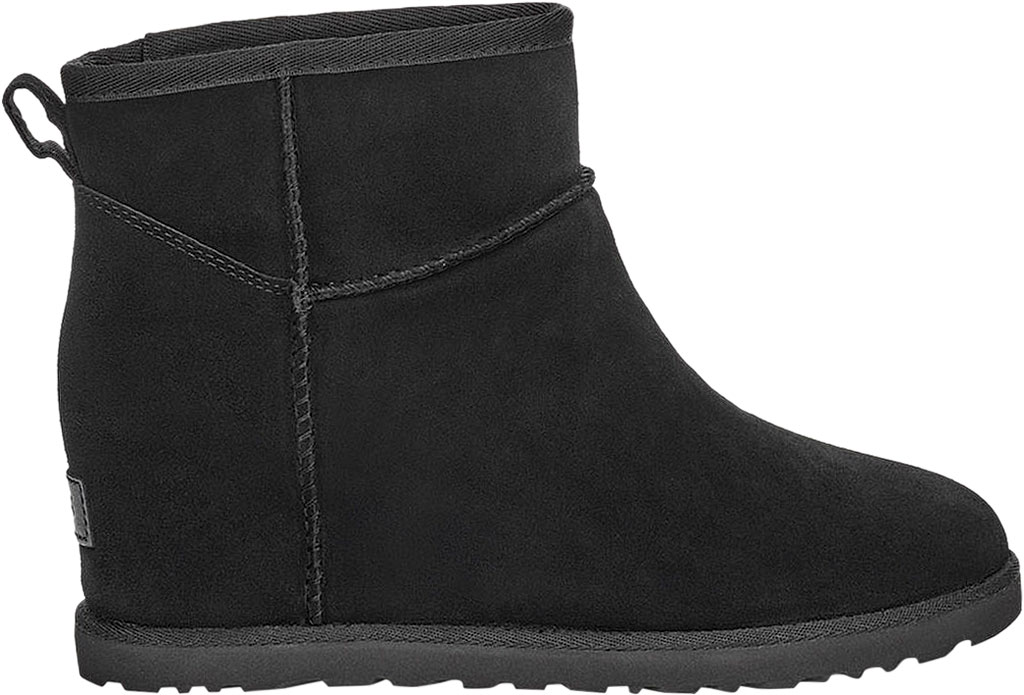 Women's UGG Classic Femme Mini Wedge Ankle Boot, Black Soft Suede, large, image 2