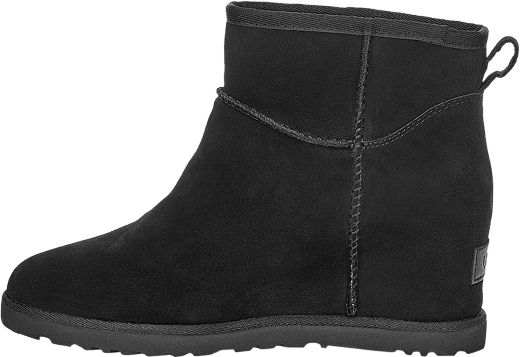 Women's UGG Classic Femme Mini Wedge Ankle Boot, Black Soft Suede, large, image 3