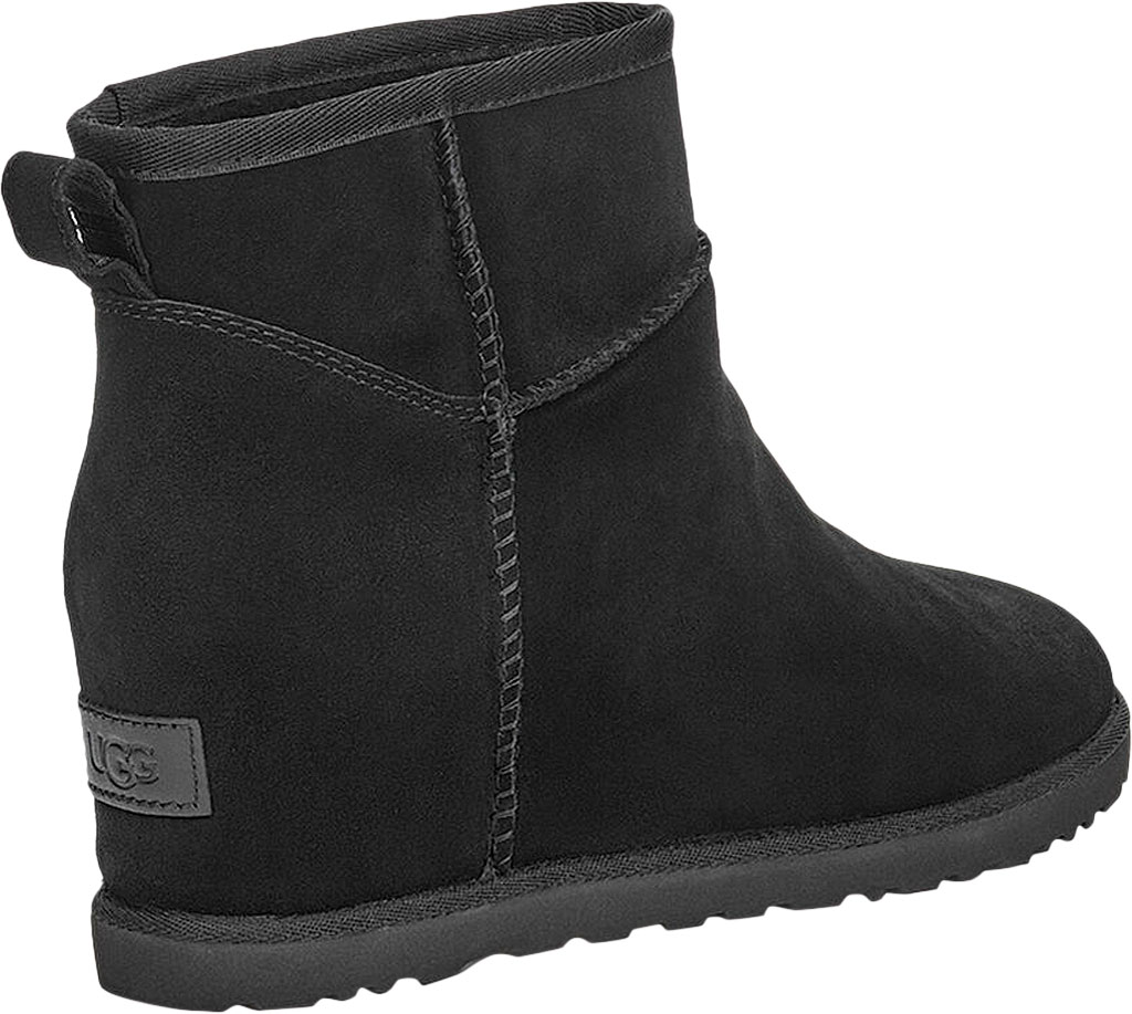 Women's UGG Classic Femme Mini Wedge Ankle Boot, Black Soft Suede, large, image 4