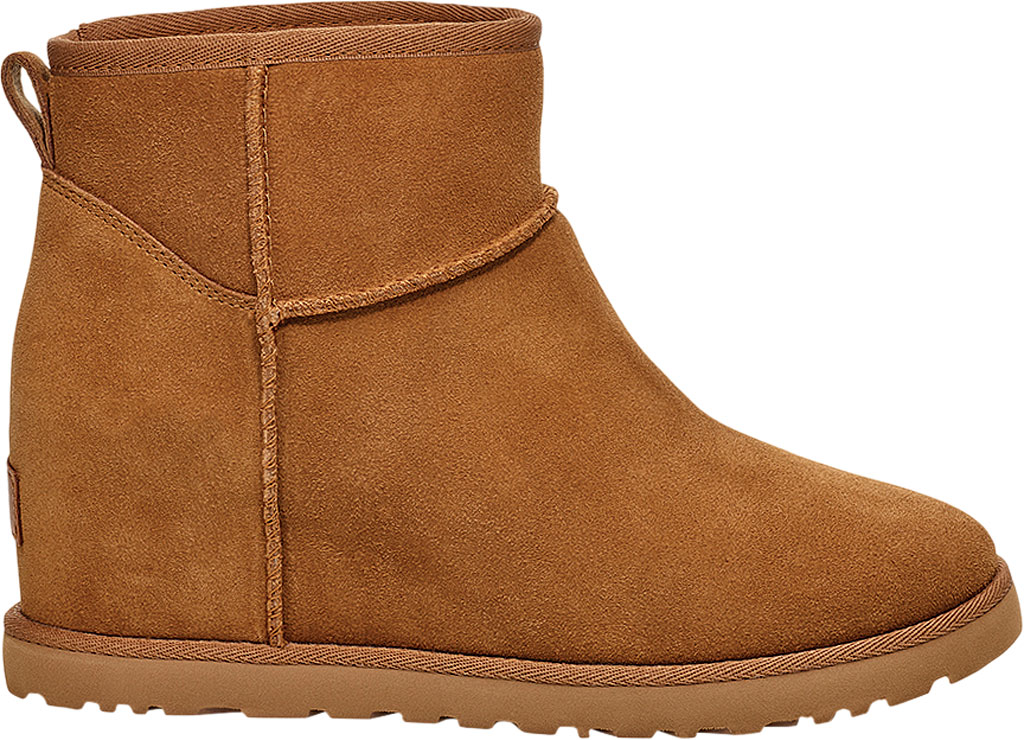 Women's UGG Classic Femme Mini Wedge Ankle Boot, Chestnut Soft Suede, large, image 1