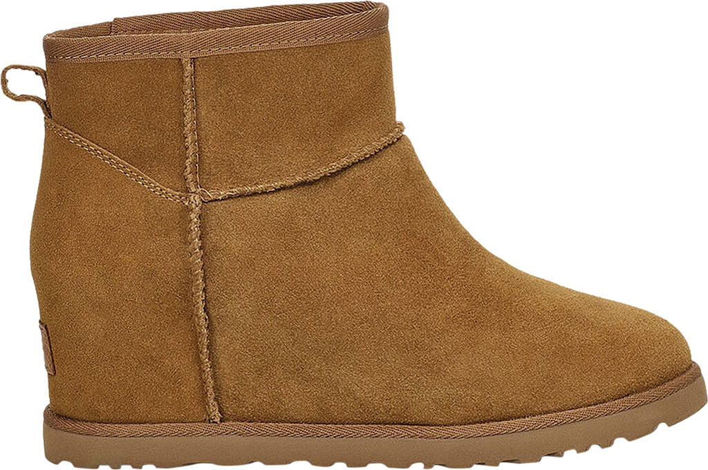 Women's UGG Classic Femme Mini Wedge Ankle Boot, Chestnut Soft Suede, large, image 2