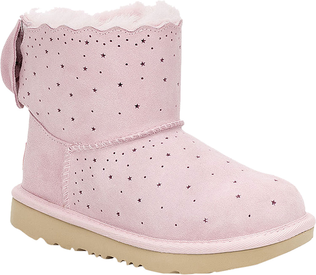 Children's UGG Mini Bailey Bow II Starry Lite Boot, Seashell Pink Perforated Suede, large, image 1