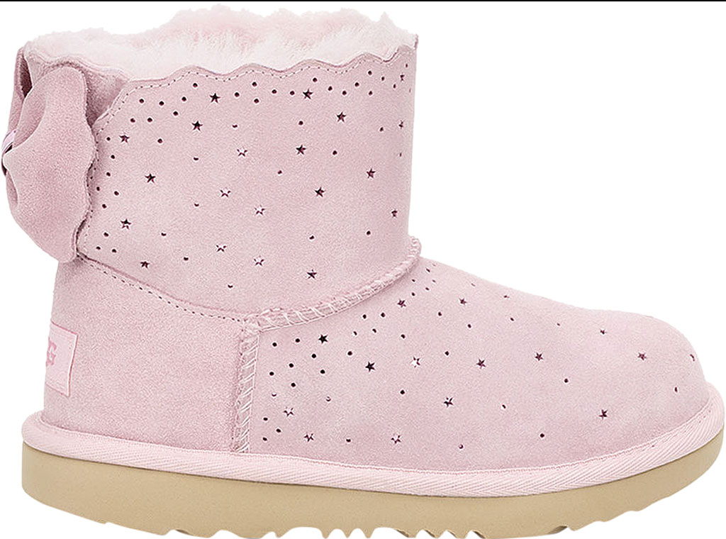 Children's UGG Mini Bailey Bow II Starry Lite Boot, Seashell Pink Perforated Suede, large, image 2