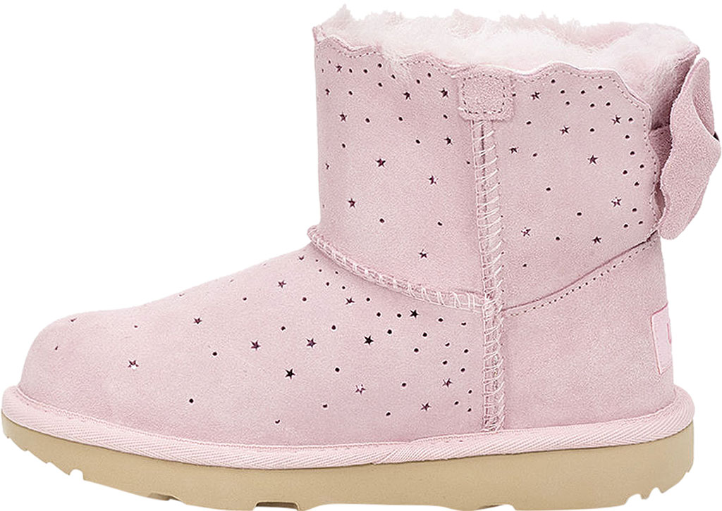 Children's UGG Mini Bailey Bow II Starry Lite Boot, Seashell Pink Perforated Suede, large, image 3