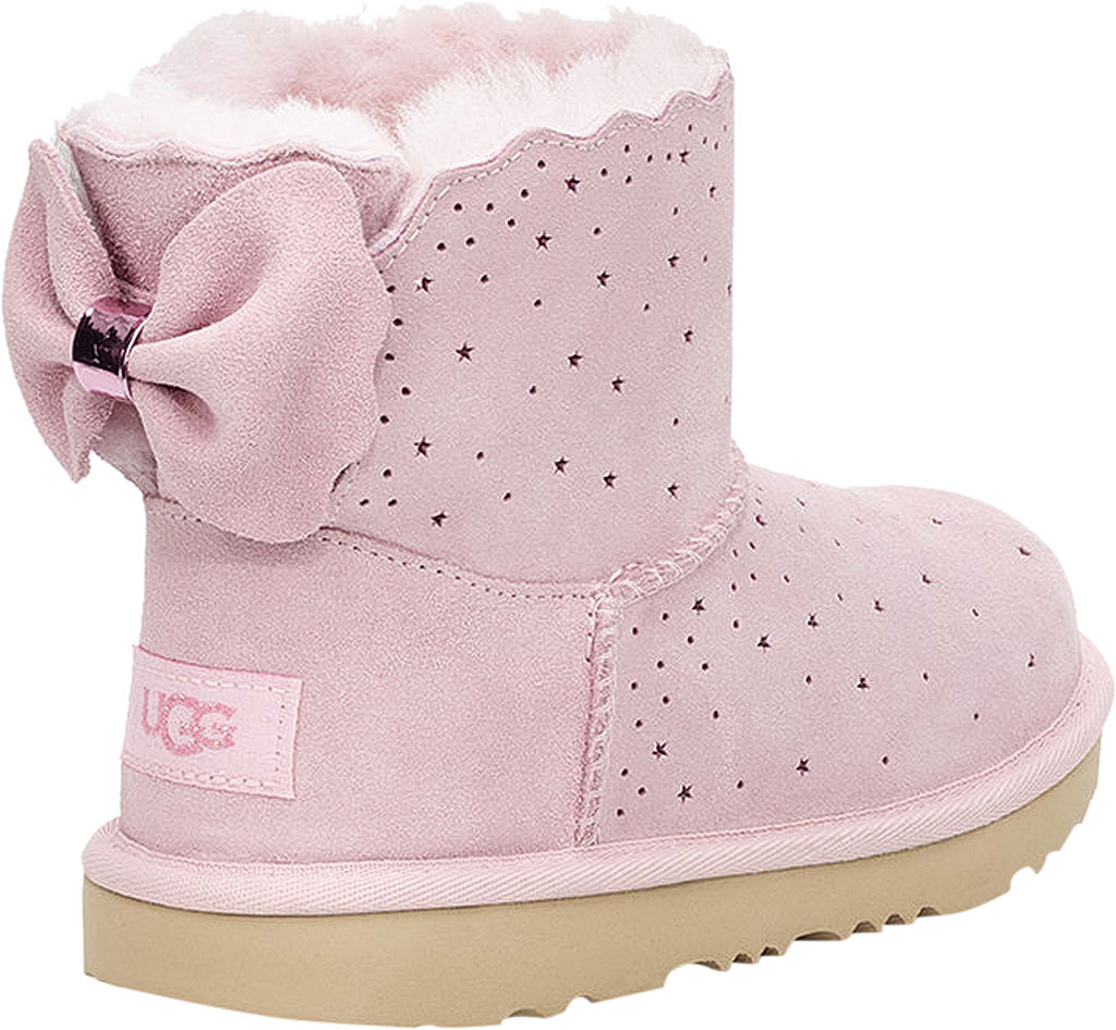 Children's UGG Mini Bailey Bow II Starry Lite Boot, Seashell Pink Perforated Suede, large, image 4