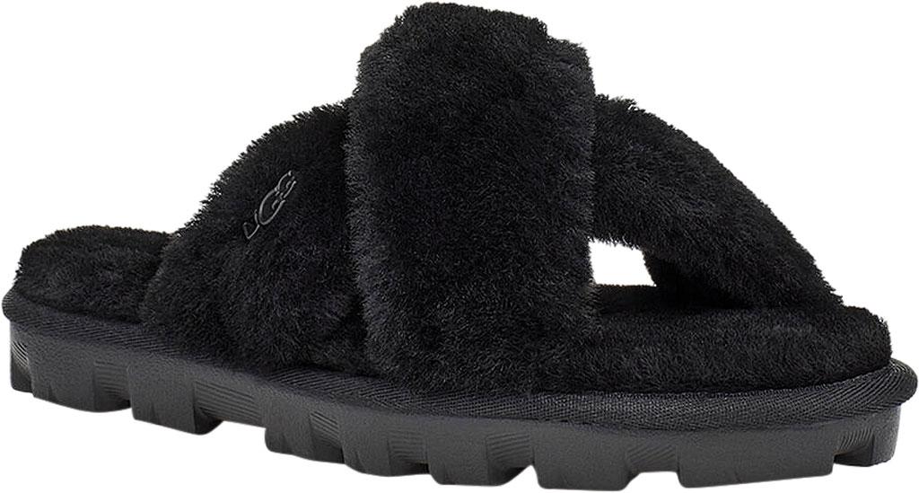 Women's UGG Fuzzette Fuzzy Slipper, Black Sheepskin, large, image 1