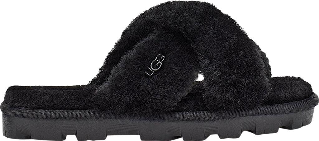 Women's UGG Fuzzette Fuzzy Slipper, Black Sheepskin, large, image 2