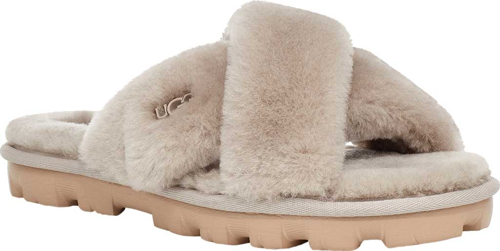 Women's UGG Fuzzette Fuzzy Slipper, Goat Sheepskin, large, image 1