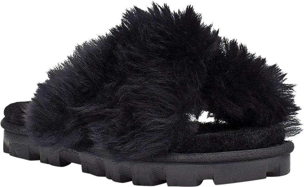 Women's UGG Fuzzalicious Fuzzy Slipper, Black Sheepskin, large, image 1