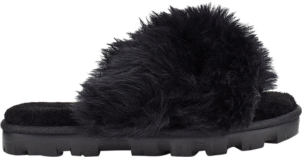 Women's UGG Fuzzalicious Fuzzy Slipper, Black Sheepskin, large, image 2
