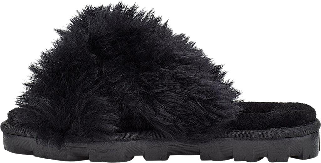 Women's UGG Fuzzalicious Fuzzy Slipper, Black Sheepskin, large, image 3
