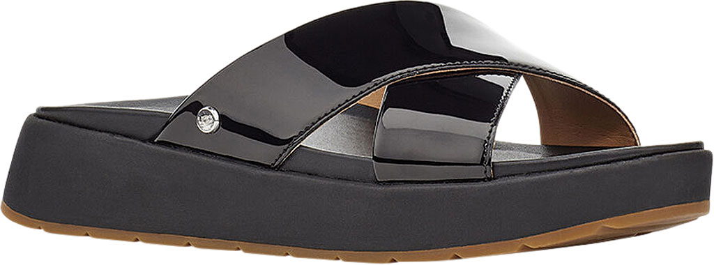 Women's UGG Emily Cross Strap Slide, Black Synthetic Patent Leather, large, image 1