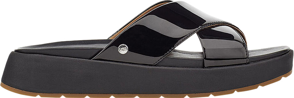 Women's UGG Emily Cross Strap Slide, Black Synthetic Patent Leather, large, image 2