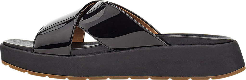 Women's UGG Emily Cross Strap Slide, Black Synthetic Patent Leather, large, image 3