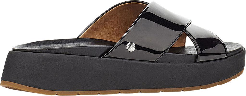 Women's UGG Emily Cross Strap Slide, Black Synthetic Patent Leather, large, image 4