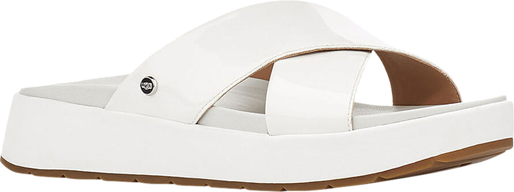Women's UGG Emily Cross Strap Slide, White Synthetic Patent Leather, large, image 1