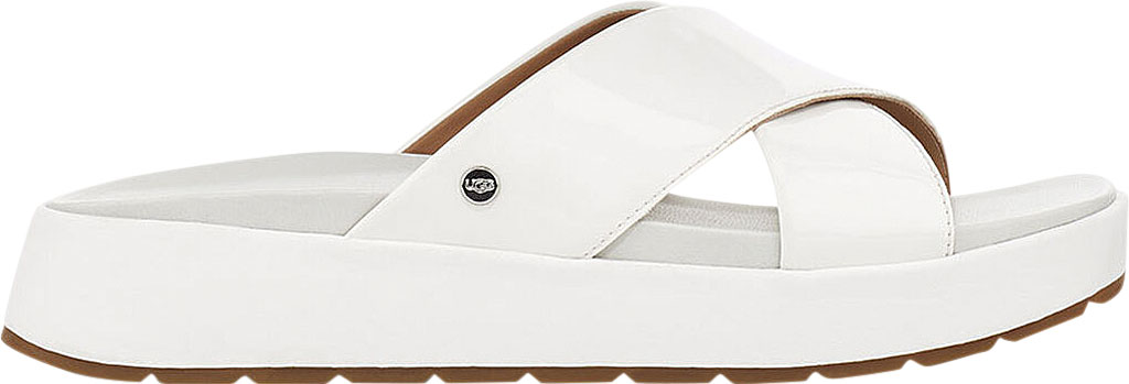 Women's UGG Emily Cross Strap Slide, White Synthetic Patent Leather, large, image 2
