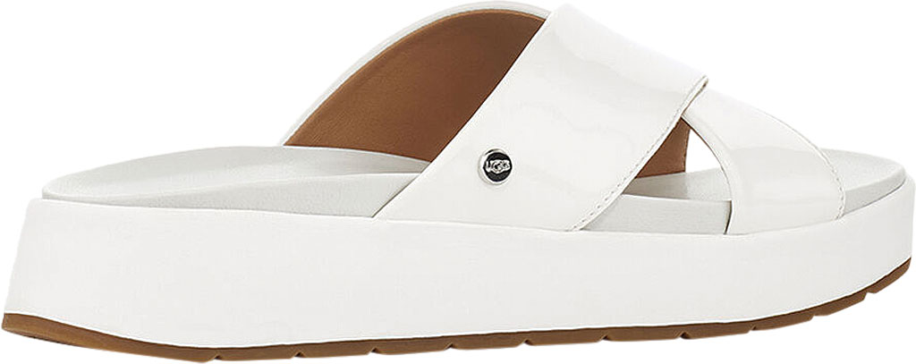 Women's UGG Emily Cross Strap Slide, White Synthetic Patent Leather, large, image 4