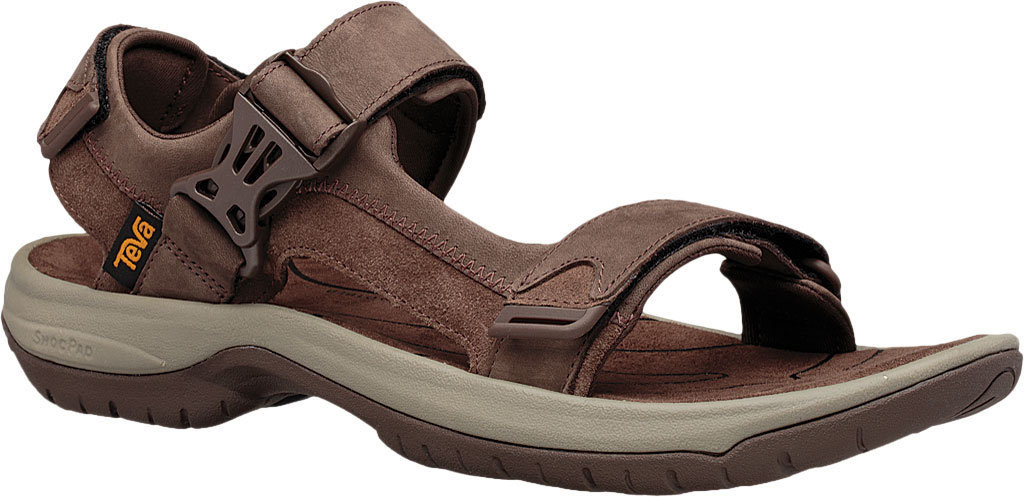 Men's Teva Tanway Leather Sandal, Chocolate Brown Leather, large, image 1