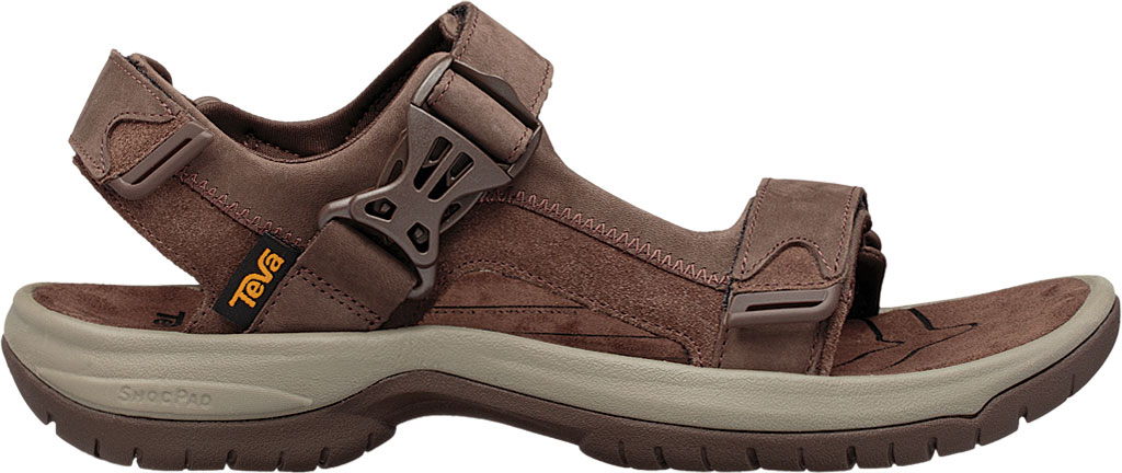 Men's Teva Tanway Leather Sandal, Chocolate Brown Leather, large, image 2