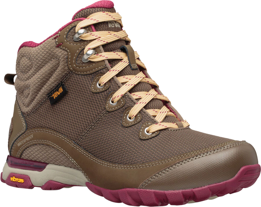 Women's Teva Sugarpine Mid Waterproof Hiking Boot, Chocolate Chip Mesh/Suede, large, image 1