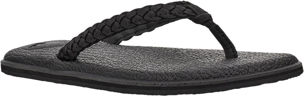 Women's Sanuk Yoga Braid Flip Flop, Black Leather, large, image 1