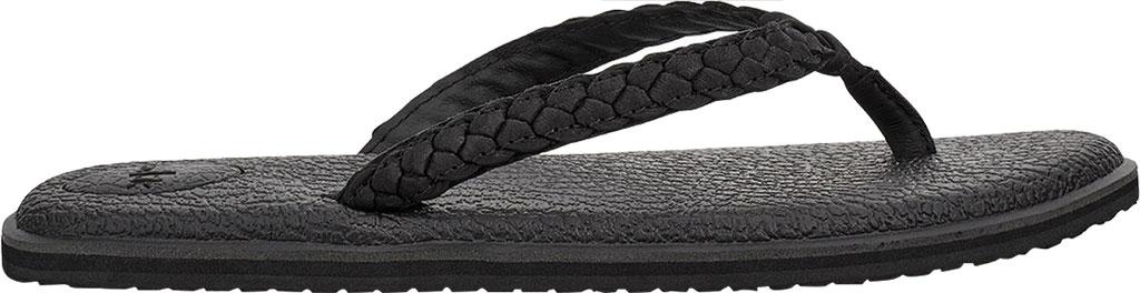 Women's Sanuk Yoga Braid Flip Flop, Black Leather, large, image 2