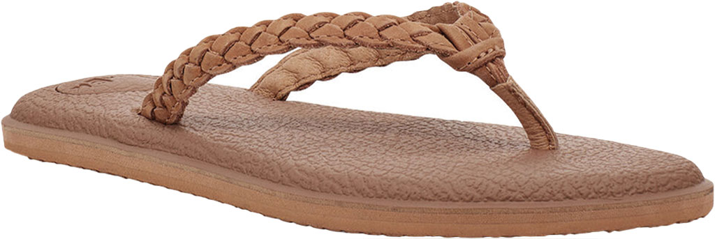 Women's Sanuk Yoga Braid Flip Flop, Tan Leather, large, image 1