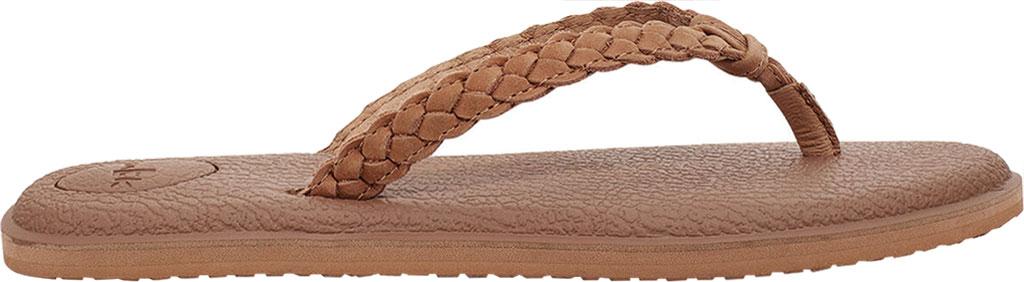 Women's Sanuk Yoga Braid Flip Flop, Tan Leather, large, image 2