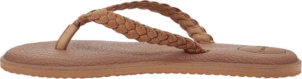 Women's Sanuk Yoga Braid Flip Flop, Tan Leather, large, image 3