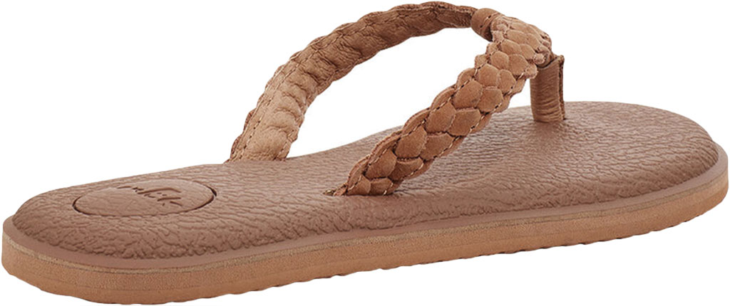 Women's Sanuk Yoga Braid Flip Flop, Tan Leather, large, image 4