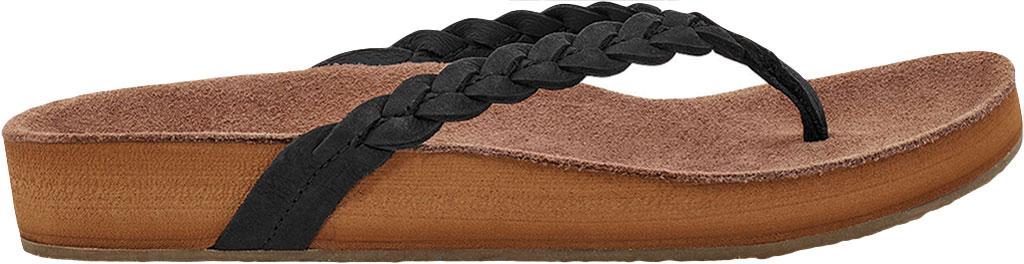 Women's Sanuk She Loungy Braid Flip Flop, Black Leather, large, image 2