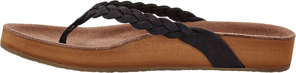 Women's Sanuk She Loungy Braid Flip Flop, Black Leather, large, image 3