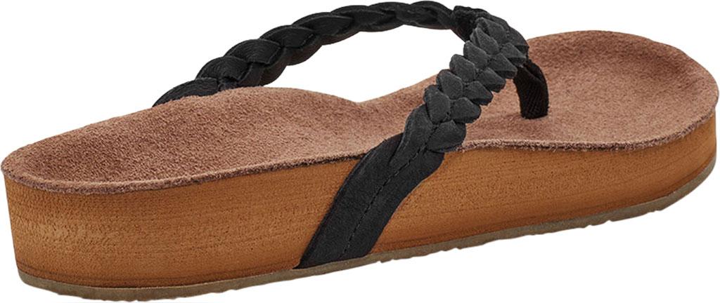 Women's Sanuk She Loungy Braid Flip Flop, Black Leather, large, image 4