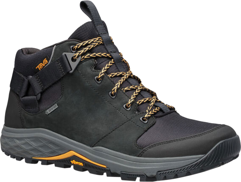 Men's Teva Grandview GTX Waterproof Hiking Boot, Black Leather/Polyester, large, image 1