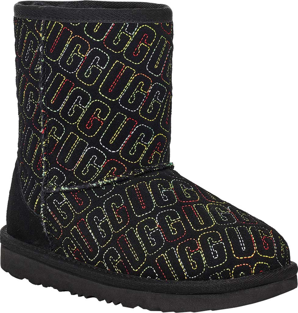 Infant UGG Classic II Graphic Stitch Bootie - Toddler, Black Cow Suede, large, image 1