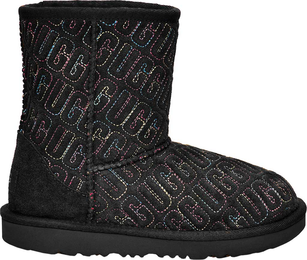 Infant UGG Classic II Graphic Stitch Bootie - Toddler, Black Cow Suede, large, image 2