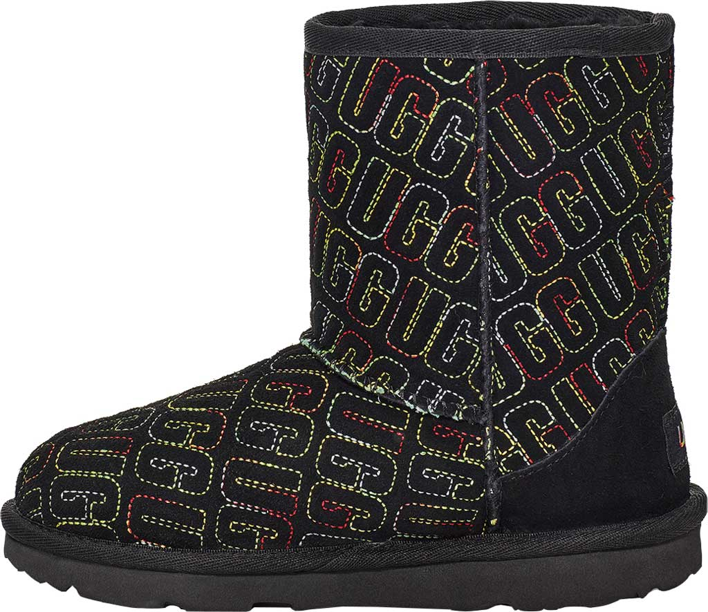 Infant UGG Classic II Graphic Stitch Bootie - Toddler, Black Cow Suede, large, image 3