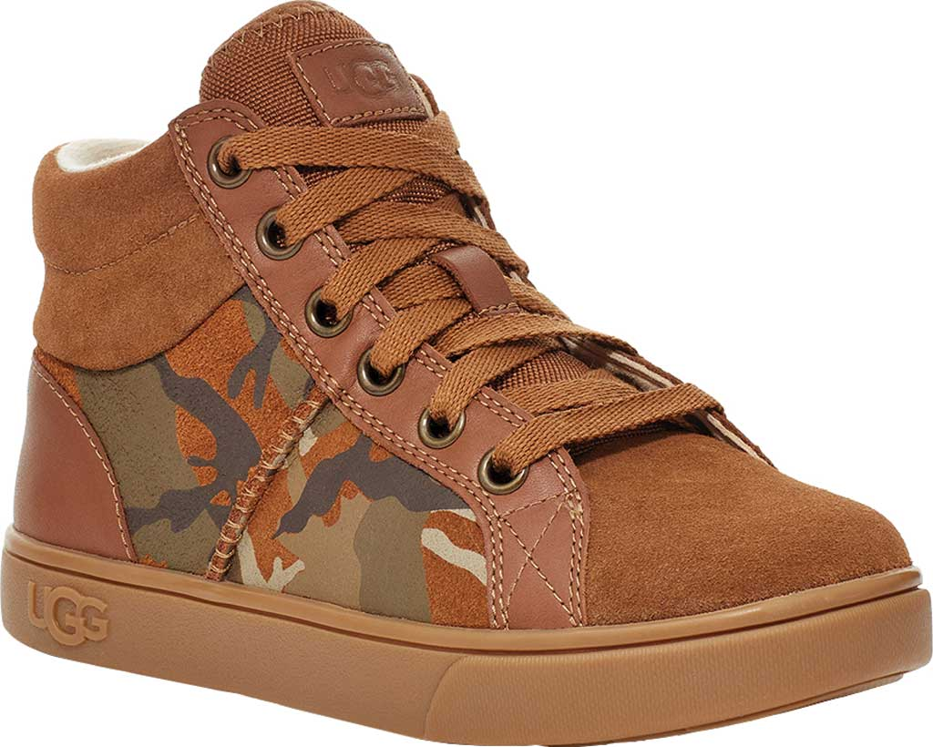 Children's UGG Boscoe Camo High Top Sneaker, Brown Camo Suede, large, image 1