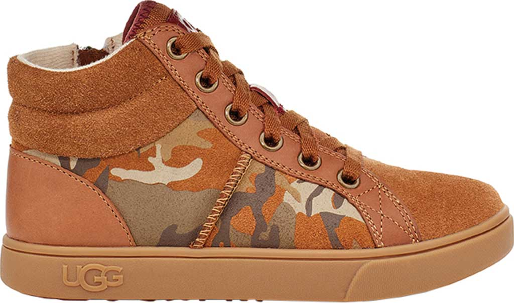 Children's UGG Boscoe Camo High Top Sneaker, Brown Camo Suede, large, image 2