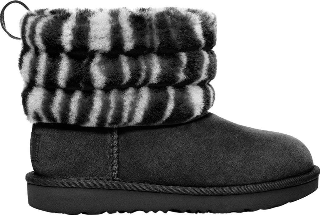 Children's UGG Fluff Mini Quilted Zebra Bootie, Black/White Twinface Sheepskin, large, image 2