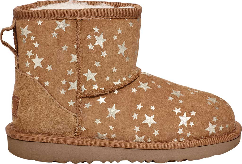Children's UGG Classic Mini II Stars Bootie, Chestnut Cow Suede, large, image 1