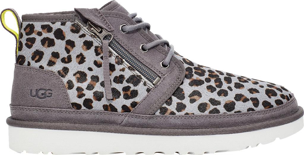Men's UGG Neumel Zip Leopard Chukka Boot, Dark Grey Leopard Cow Hair, large, image 1