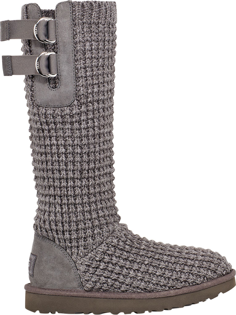 Women's UGG Classic Solene Tall Sweater Boot, Charcoal Soft Knit, large, image 1