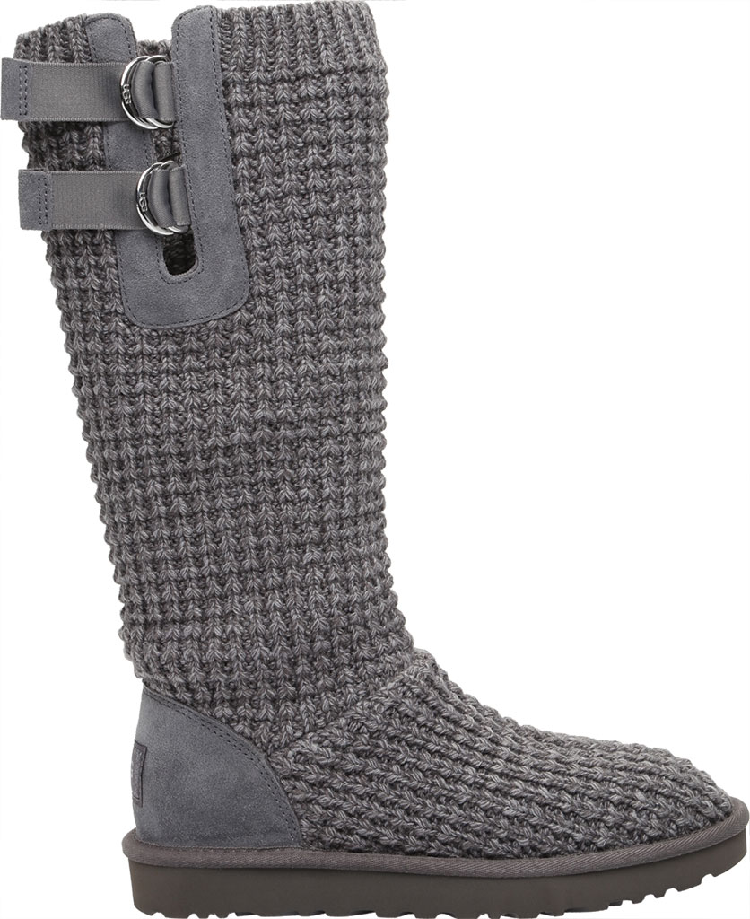 Women's UGG Classic Solene Tall Sweater Boot, Charcoal Soft Knit, large, image 2