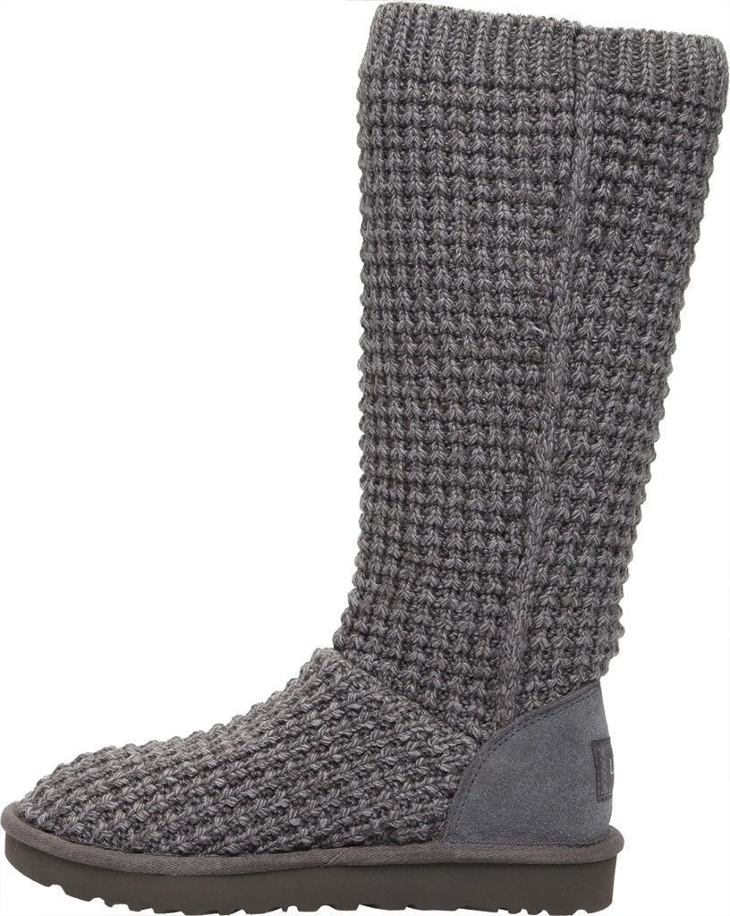 Women's UGG Classic Solene Tall Sweater Boot, Charcoal Soft Knit, large, image 3
