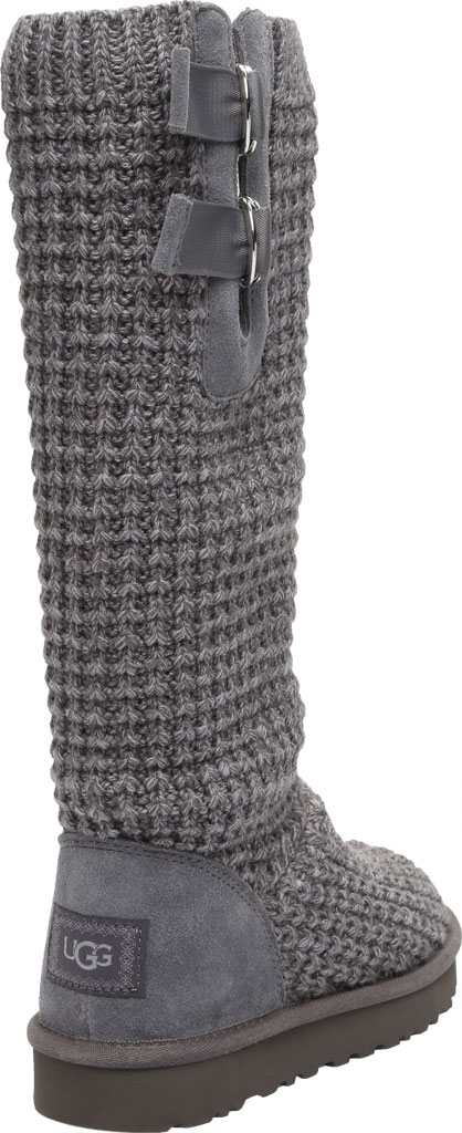 Women's UGG Classic Solene Tall Sweater Boot, Charcoal Soft Knit, large, image 4